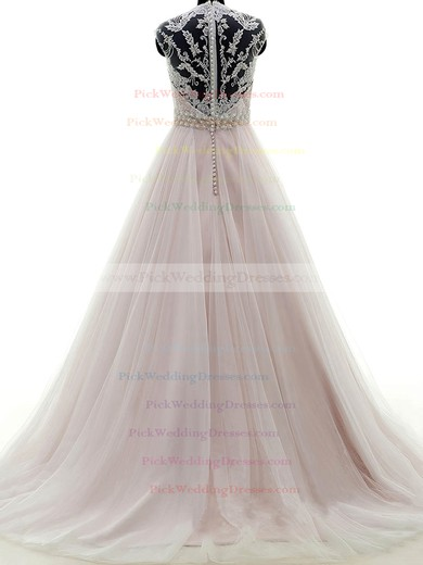 Tulle V-neck Sweep Train Ball Gown with Appliques Lace Wedding Dresses #PWD00023053