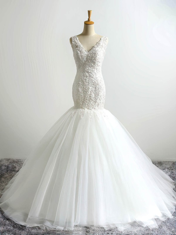 Tulle V-neck Court Train Trumpet/Mermaid with Appliques Lace Wedding Dresses #PWD00023054