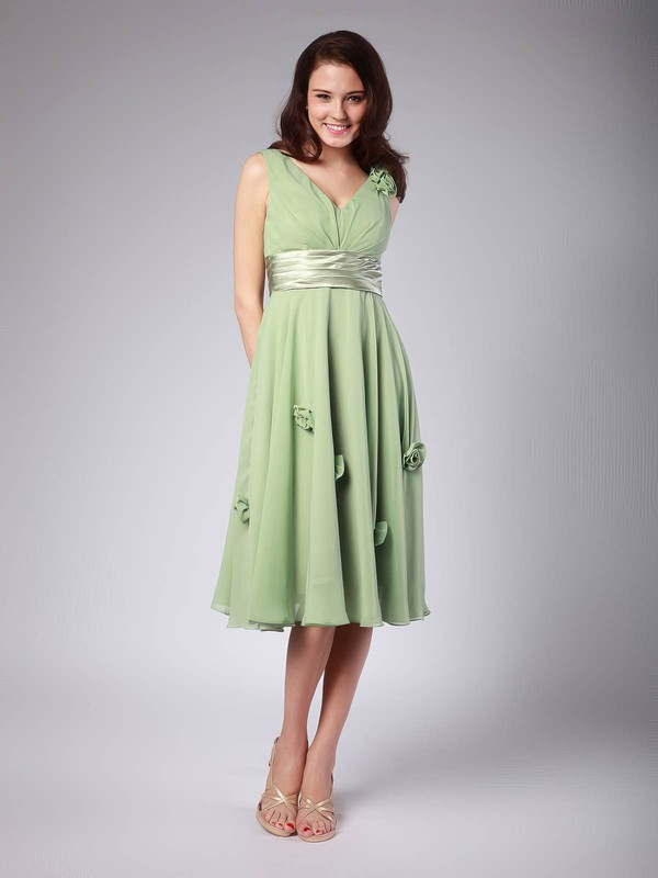A-line Tea-length Chiffon Flower(s) V-neck Bridesmaid Dresses #PWD01012015