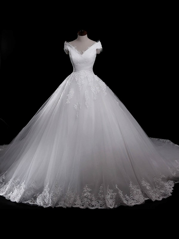 Tulle V-neck Chapel Train Ball Gown with Appliques Lace Wedding Dresses #PWD00023055