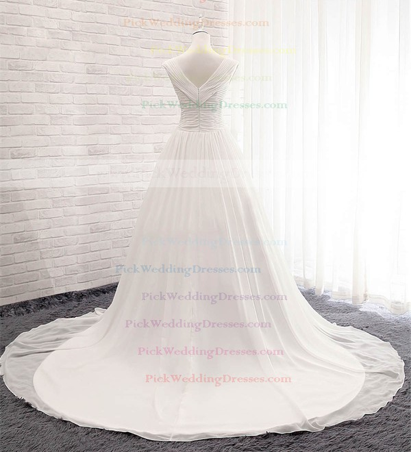 Chiffon V-neck Court Train Ball Gown with Ruffles Wedding Dresses #PWD00023056