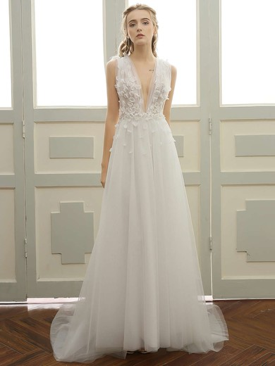 Tulle V-neck Sweep Train A-line with Lace Wedding Dresses #PWD00023057