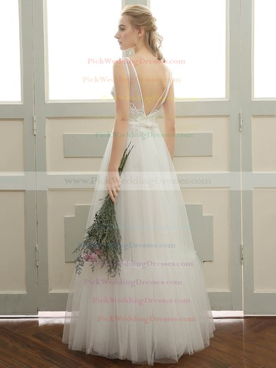 Tulle Scoop Neck Floor-length A-line with Sashes / Ribbons Wedding Dresses #PWD00023058