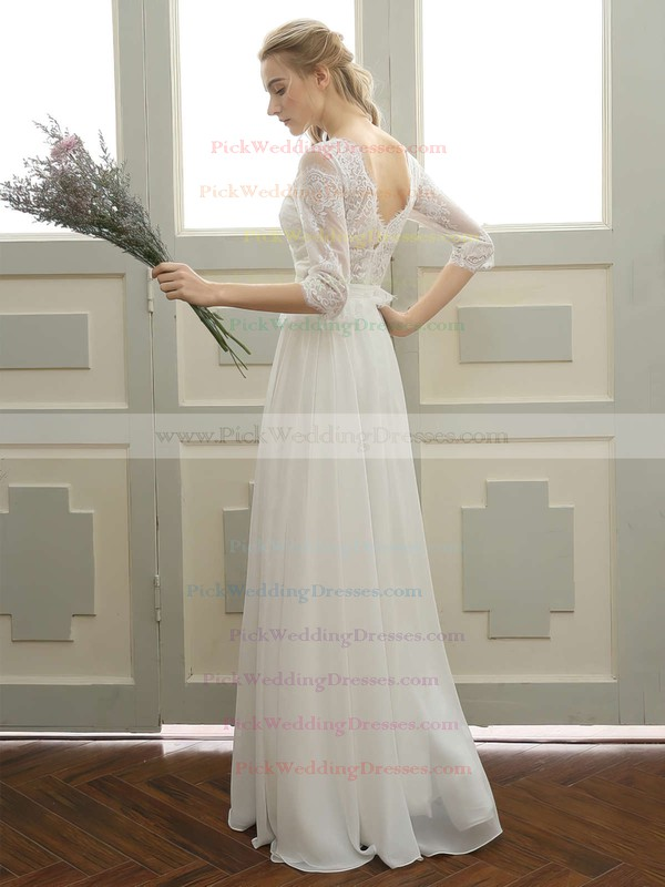 Tulle Chiffon Scoop Neck Floor-length A-line with Appliques Lace Wedding Dresses #PWD00023059