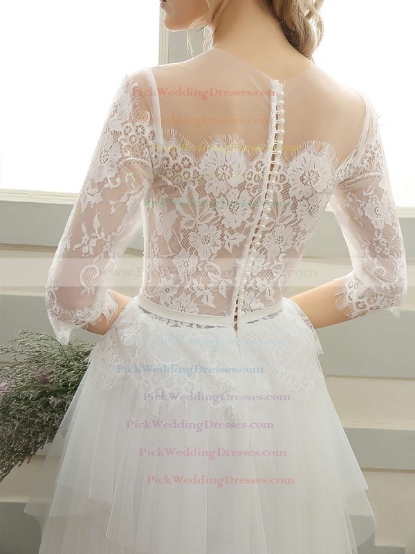Tulle Scoop Neck Floor-length A-line with Sashes / Ribbons Wedding Dresses #PWD00023060
