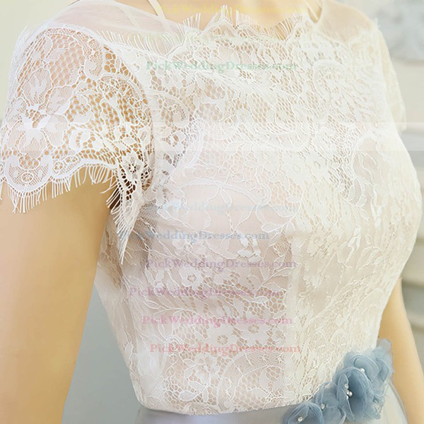 Tulle Lace Scoop Neck Sweep Train A-line with Sashes / Ribbons Wedding Dresses #PWD00023061