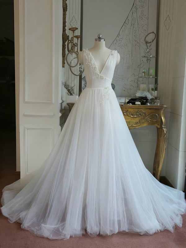 Tulle V-neck Sweep Train Ball Gown with Appliques Lace Wedding Dresses #PWD00023062