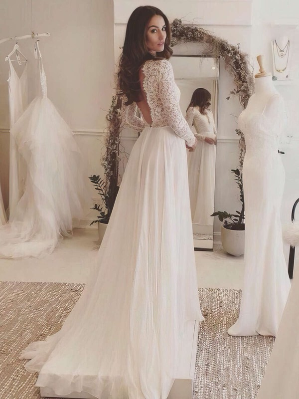 Tulle Chiffon V-neck Sweep Train A-line with Appliques Lace Wedding Dresses #PWD00023063
