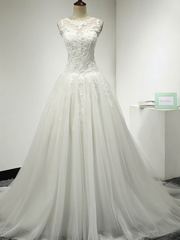 Tulle Scoop Neck Sweep Train Ball Gown with Appliques Lace Wedding Dresses #PWD00023064