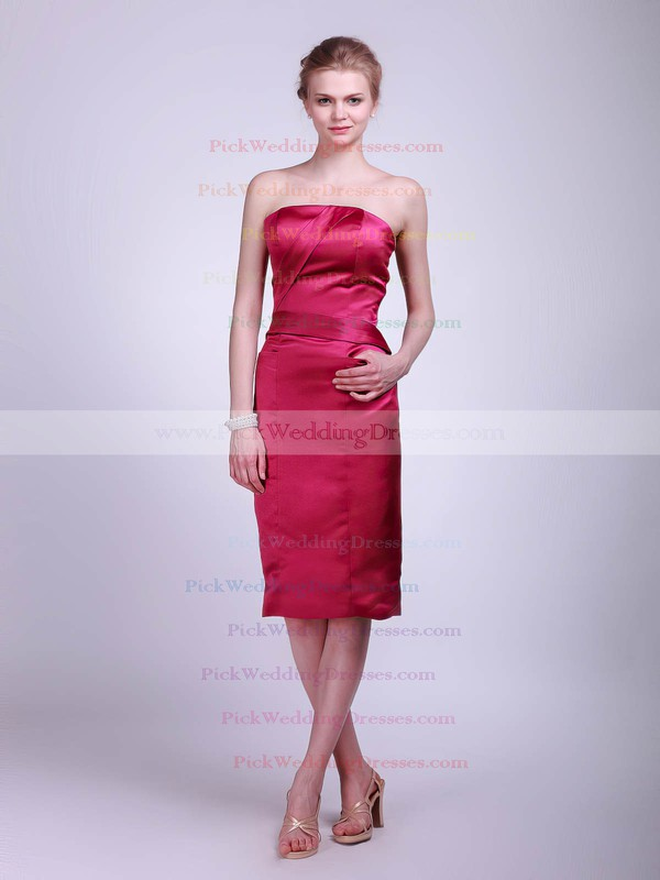 Sheath/Column Knee-length Satin Ruched Strapless Bridesmaid Dresses #PWD01012017