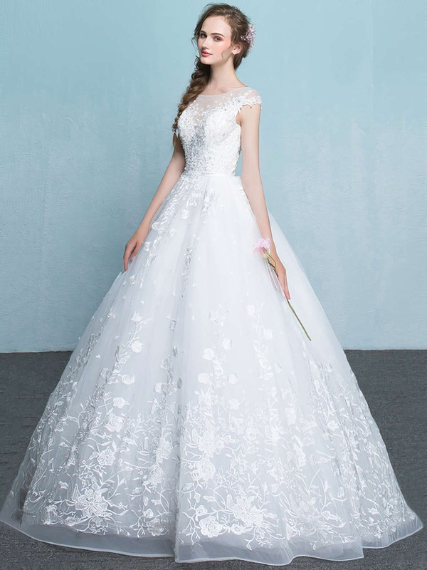 Organza Scoop Neck Floor-length Ball Gown with Appliques Lace Wedding Dresses #PWD00023065