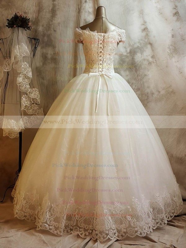 Tulle Off-the-shoulder Floor-length Ball Gown with Beading Wedding Dresses #PWD00023068