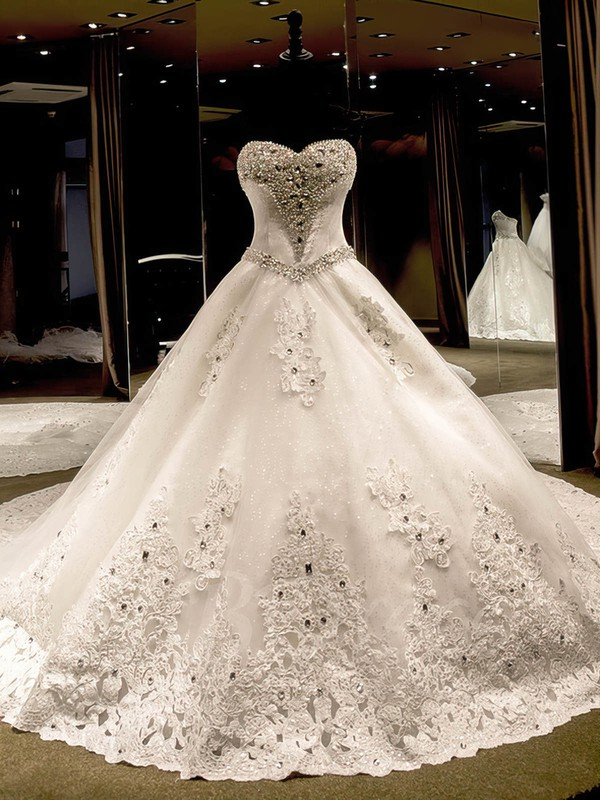 Tulle Sweetheart Cathedral Train Ball Gown with Appliques Lace Wedding Dresses #PWD00023069