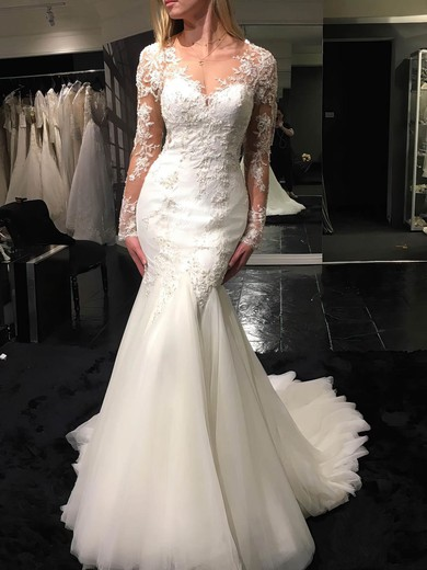 Tulle Scoop Neck Sweep Train Trumpet/Mermaid with Appliques Lace Wedding Dresses #PWD00023070