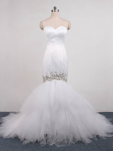 Tulle Sweetheart Sweep Train Trumpet/Mermaid with Beading Wedding Dresses #PWD00023071