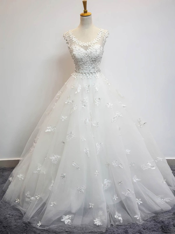 Tulle Scoop Neck Floor-length Ball Gown with Beading Wedding Dresses #PWD00023072
