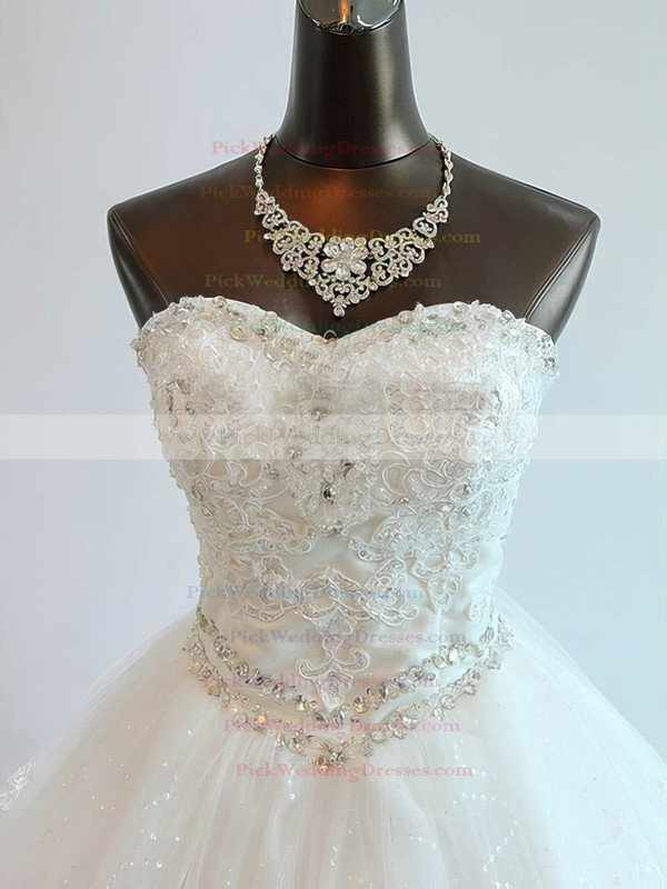 Tulle Sweetheart Chapel Train Ball Gown with Beading Wedding Dresses #PWD00023073