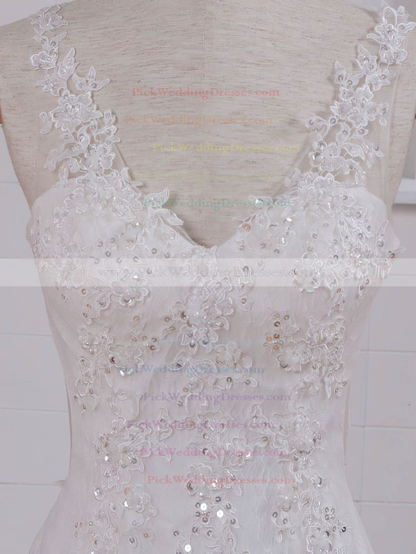 Lace Tulle V-neck Court Train Trumpet/Mermaid with Appliques Lace Wedding Dresses #PWD00023074