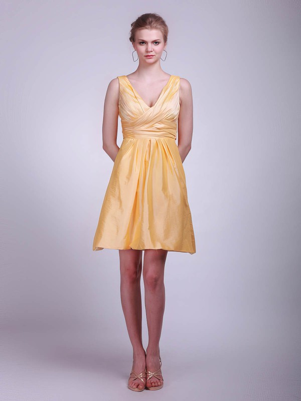 A-line Short/Mini Taffeta Ruffles V-neck Bridesmaid Dresses #PWD01012020
