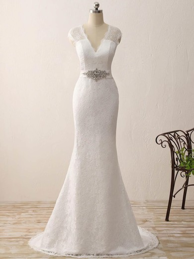 Lace V-neck Sweep Train Trumpet/Mermaid with Sashes / Ribbons Wedding Dresses #PWD00023075