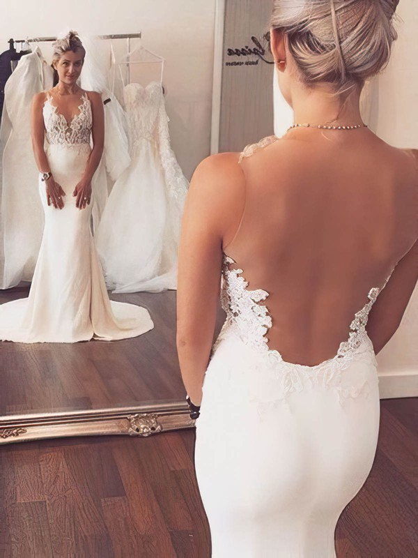 Tulle Silk-like Satin Scoop Neck Sweep Train Trumpet/Mermaid with Appliques Lace Wedding Dresses #PWD00023076