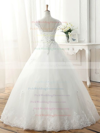 Tulle V-neck Floor-length Ball Gown with Beading Wedding Dresses #PWD00023077