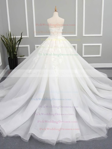 Organza Tulle Strapless Chapel Train Ball Gown with Appliques Lace Wedding Dresses #PWD00023078