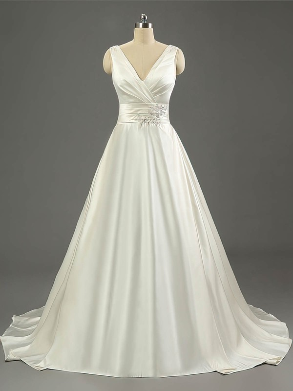 Satin V-neck Sweep Train Ball Gown with Ruffles Wedding Dresses #PWD00023079