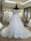 Tulle Off-the-shoulder Sweep Train Ball Gown with Appliques Lace Wedding Dresses #PWD00023080
