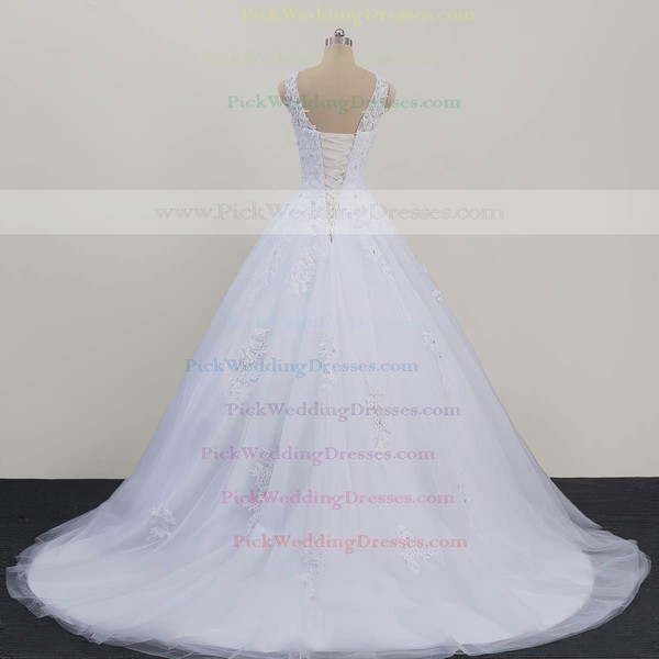 Tulle Scoop Neck Sweep Train Ball Gown with Beading Wedding Dresses #PWD00023081