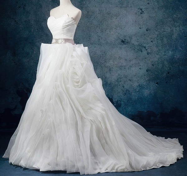 Organza Sweetheart Court Train Ball Gown with Sashes / Ribbons Wedding Dresses #PWD00023082