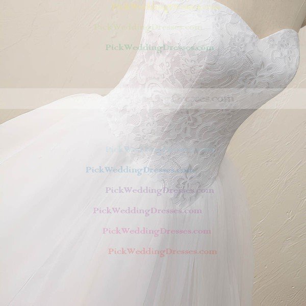 Tulle Lace Sweetheart Floor-length Ball Gown with Appliques Lace Wedding Dresses #PWD00023083