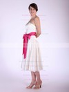 A-line Tea-length Satin Sashes/Ribbons Strapless Bridesmaid Dresses #PWD01012029