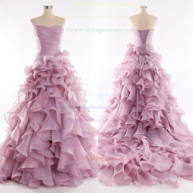 Organza Sweetheart Court Train Princess with Cascading Ruffles Wedding Dresses #PWD00023085