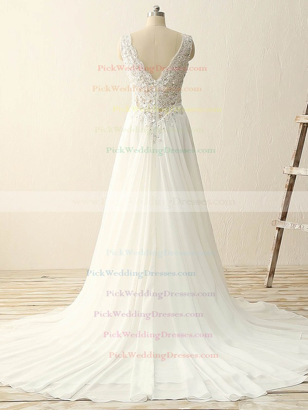 Tulle Chiffon V-neck Sweep Train A-line with Sequins Wedding Dresses #PWD00023086