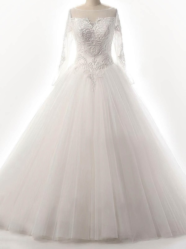 Tulle Scoop Neck Floor-length Ball Gown with Beading Wedding Dresses #PWD00023087