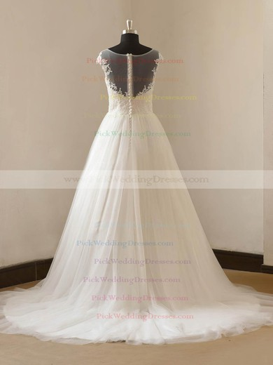 Tulle Scoop Neck Sweep Train Princess with Appliques Lace Wedding Dresses #PWD00023088