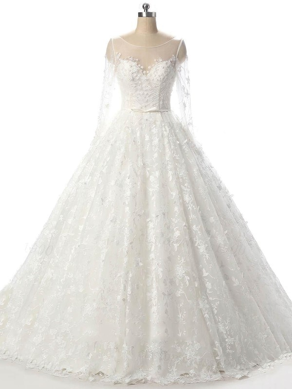 Tulle Scoop Neck Court Train Ball Gown with Beading Wedding Dresses #PWD00023089