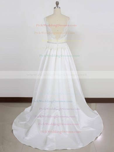 Lace Satin V-neck Sweep Train Princess with Beading Wedding Dresses #PWD00023002