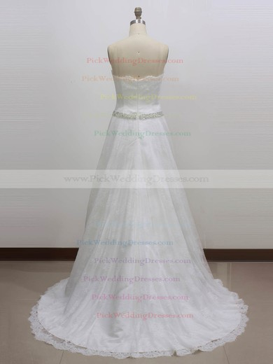 Lace Sweetheart Sweep Train Princess with Sashes / Ribbons Wedding Dresses #PWD00023003
