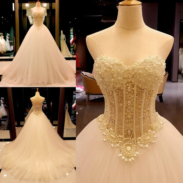 Tulle Sweetheart Court Train Ball Gown with Crystal Detailing Wedding Dresses #PWD00023004