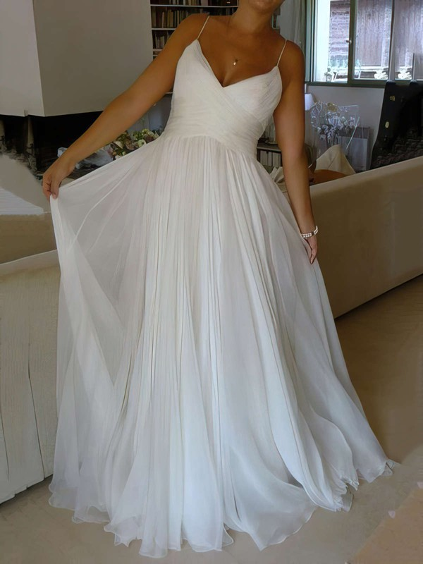 Chiffon V-neck Court Train A-line with Ruffles Wedding Dresses #PWD00023006