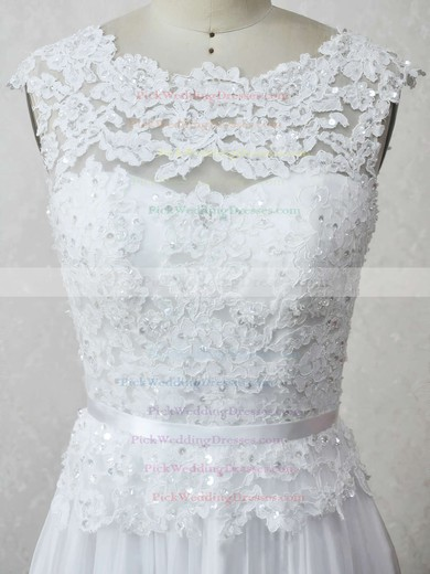 Chiffon Tulle Scoop Neck Floor-length A-line with Appliques Lace Wedding Dresses #PWD00023007