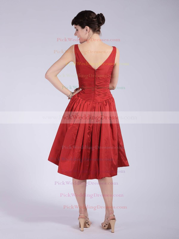 A-line Tea-length Taffeta Pleats V-neck Bridesmaid Dresses #PWD01012037