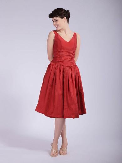 A-line Tea-length Taffeta Pleats V-neck Bridesmaid Dresses #PWD01012037