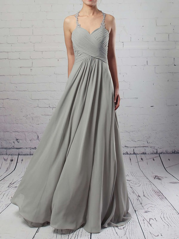 Chiffon Tulle V-neck Floor-length Empire Ruffles Bridesmaid Dresses #PWD01013463