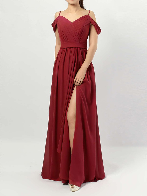 Chiffon V-neck Floor-length A-line Sashes / Ribbons Bridesmaid Dresses #PWD01013464