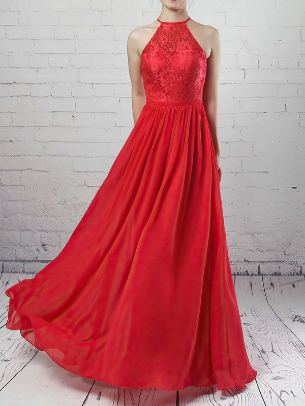 Lace Chiffon Scoop Neck Floor-length A-line Sashes / Ribbons Bridesmaid Dresses #PWD01013468