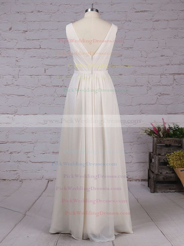 Chiffon V-neck Floor-length A-line Lace Bridesmaid Dresses #PWD01013470
