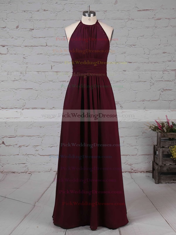 Chiffon Scoop Neck Floor-length A-line Ruffles Bridesmaid Dresses #PWD01013474
